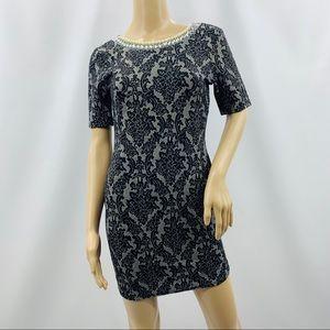Minx Black Lace Print Low Back Pearl Mini Dress